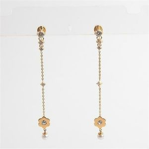 Michael Kors Gold Floral Crystal Pearl Earrings